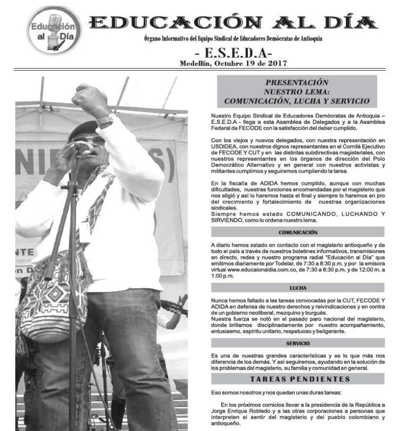 Boletín informativo – 13 de Noviembre de 2017. Omar Arango Jiménez