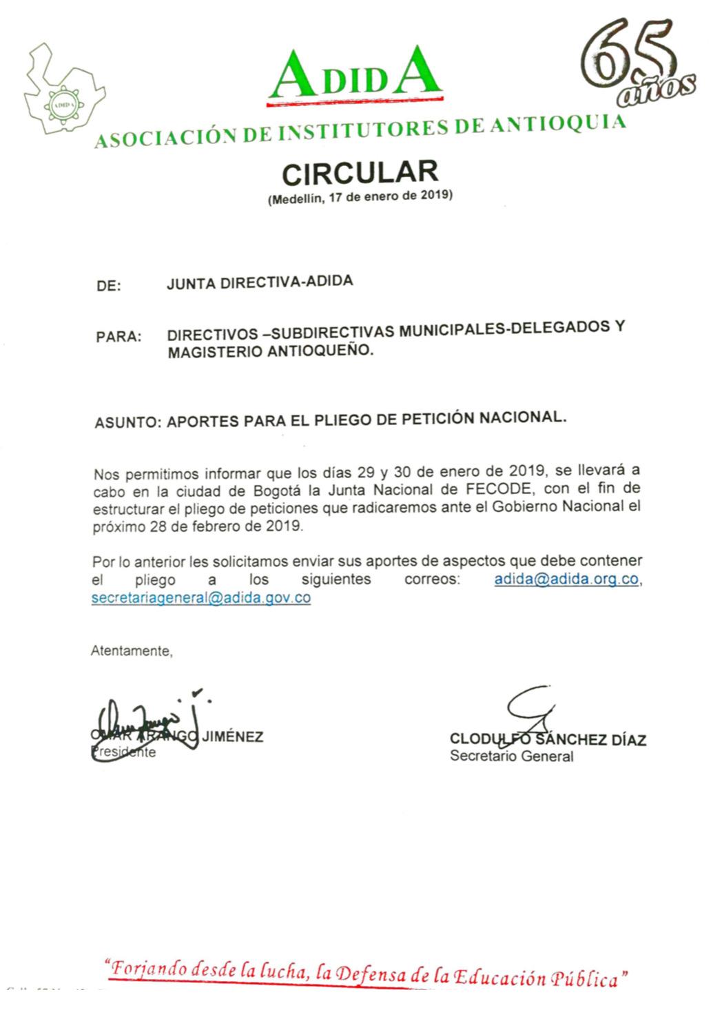 Aportes al pliego de petición nacional – Omar Arango Jiménez