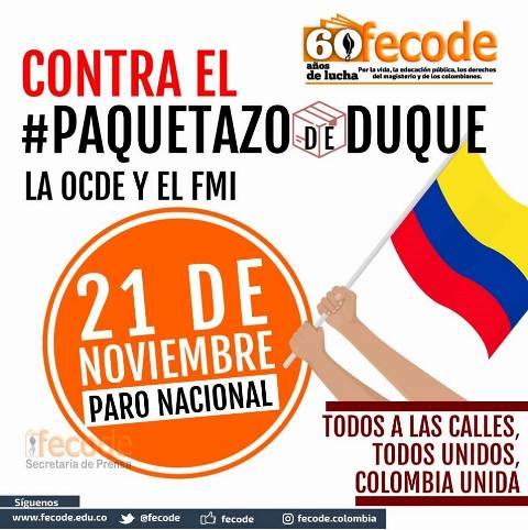 Fecode participará decididamente en el Paro Nacional del 21 de noviembre